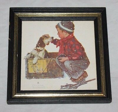Vintage Framed Norman Rockwell Wedgefield Pictures Stock No CC211 6x6 Dog 4 Sale