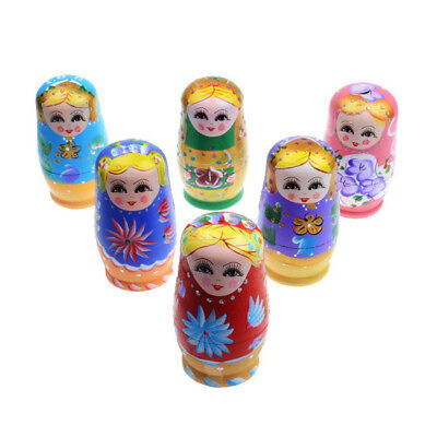 5pcs Dolls Set Wooden Russian Nesting Babushka Matryoshka Hand Paint O4F3
