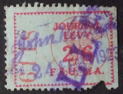 Rare 1923 NSW? Australia 2/6- Federated Seaman's Union of Aust Journal Levy Used