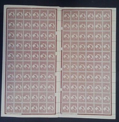 Very Rare 1945- Australia Full sheet of 2/- maroon Redrawn Die Stamps Mint