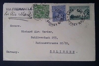 1936- Australia Air Mail cover to Germany from Sydney Via Fremantle