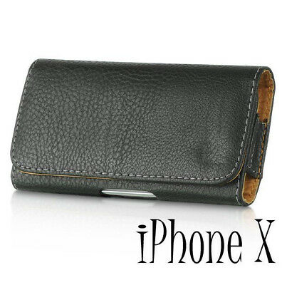 iPhone X / XS -HORIZONTAL BLACK Leather Skin Pouch Holder Belt Clip Holster Case