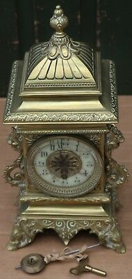 Fab Old Brass Ornate Cased Mantel Clock To Restore