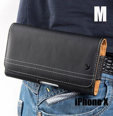 iPhone X /XS /10S - HORIZONTAL BLACK Leather Pouch Holder Belt Clip Holster Case