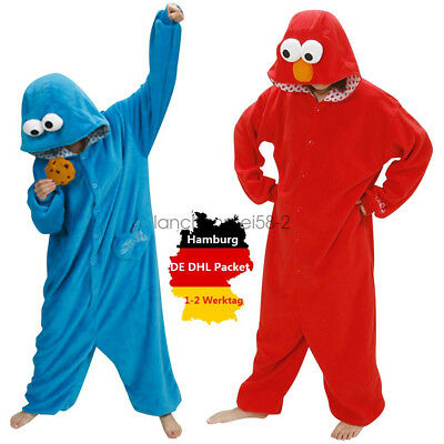 Cookie Monster Onesie Kigurumi Fancy Dress Costume Hoodies Adult Cosplay Pajamas
