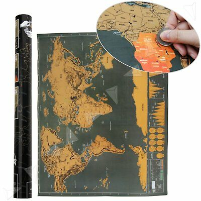 Scratch Off World Map Large Deluxe Large Personalized Travel Poster Travel Atlas
