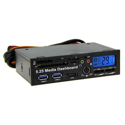 "5.25"" Front Panel Media Dashboard 2x USB 3.0 Hub SATA Port Kartenleser"