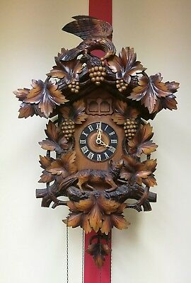 Antique black forest musical cuckoo clock eagle, fox grapes, 27""
