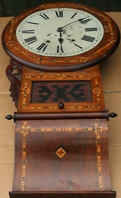 Old Large Wall Clock With Fabulous Inlaid Wooden Case To Restore