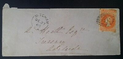 Rare 1865- South Australia Small cover ties 2 d vermilion Sideface stamp Mitcham