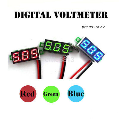 Mini Two Wires Digital Voltmeter DC 4.5-30V LED Diaplay Panel Voltage Meter Tool