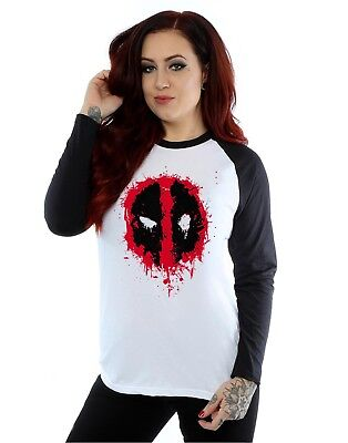 Marvel Femme Deadpool Splat Face Manches longues Baseball Shirt