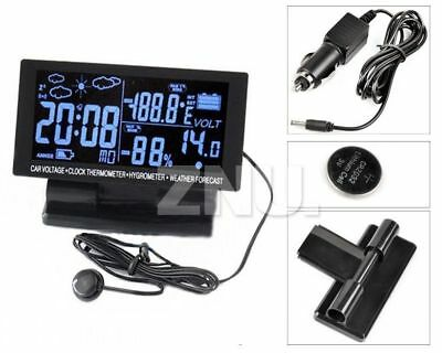 LCD Screen Digital Clock Car Thermometer Hygrometer Black Weather Forecast Top