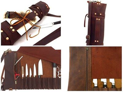 Leather Knife Roll / Chefs Knife Bag,Genuine Leather + Free Shipping+ Free Gift