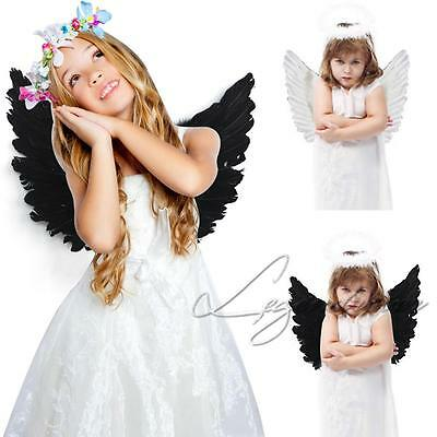 Angel Wings Fancy Dress up Fairy Feather Costume Outfit Large Kids Adult Party