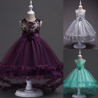 Kid Girl Dress Flower Formal Lace Wedding Birthday Pageant Princess Dresses Gown