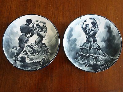 VINTAGE RETRO 50s !  SPANISH FLAMENCO SIGNED POTTERY PLATES