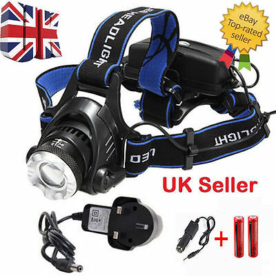 T6 CREE XM-L LED Rechargeable Zoom Head wtaerproof Torch Headlamp Zoomable 18650