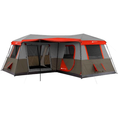 NEW Trail 12 Person 3 Room L Shaped Instant Cabin Tent Camping Instant Set Up