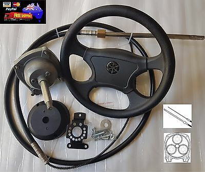14FT Planetary Gear Outboard Marine Steering Helm With Boat Steering Cable Wheel