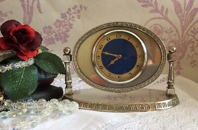 Beautiful Vintage  English silver plated blue faced Art Deco Desk Boudoir clock