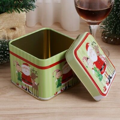 Christmas Style Square Tin Box  Biscuit Candy Case Xmas Gift Cookie Storage