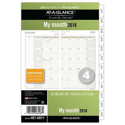 AT-A-GLANCE Day Runner Monthly Planner Refill Pages, January 2018 - December 201