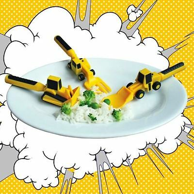 Constructive Eating Construction Children's Cutlery Spoon Fork & Pusher Utensil