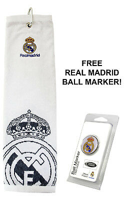 Real Madrid 100% Official Golf Tri Fold Towel RRP£25 + FREE Golf Ball Marker