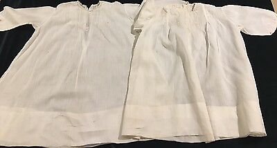 Pair Of Antique Organdy Embroidered White Dress Christening Gown #4