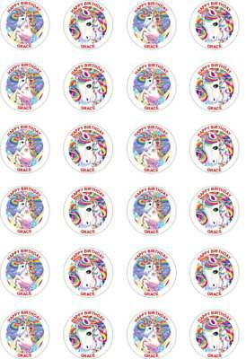 24 x PERSONALISED PRECUT UNICORN/S FANTASY RICE/WAFER PAPER CUP CAKE TOPPERS