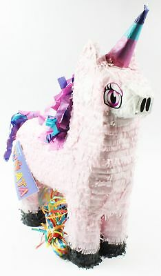 Unicorn Pinata Hanging Kids Theme Party Activity Decoration Pull String Favours