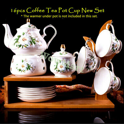 China Pottery Porcelain 8pc Ceramic Water Jug Coffee Tea Pot Cup Tray Set F