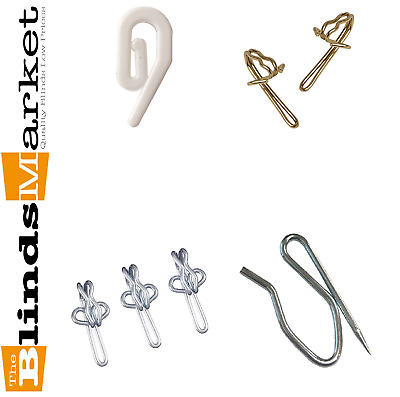 Strong Curtain Hooks For Pleating Or Pinch Tape - Plastic Brass Zinc Metal