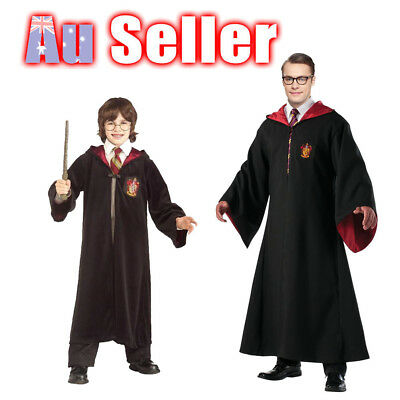 Harry Potter Kids Mans Adult Gryffindor Robe Tie Costume Glasses Wand cloak