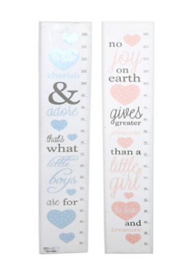 Poem Height Chart For Kids Blue Boys or Pink Girls Wooden measuring Height Chart