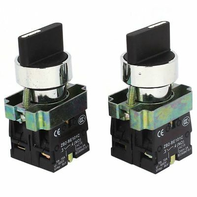 2 Pcs 2NO DPST 3 Positions Maintained Rotary Selector Switch 600V 10A T1X2 D2D1