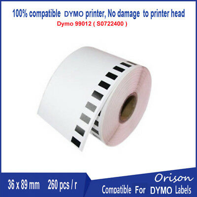 2PK 89*36mm DYMO99012 Label Compatible For LabelWriter400 450 260pcs per Roll