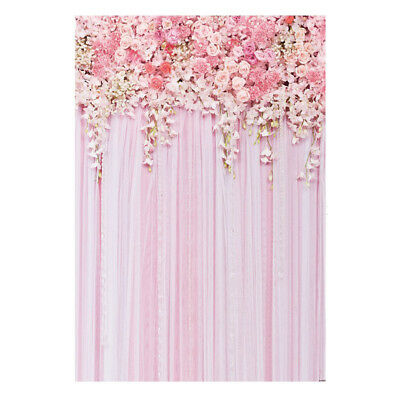 5x7ft Pink Flower Backdrop Photography Background Weeding Background O6H2 G2T6