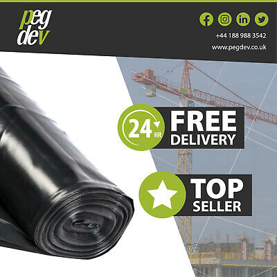 4 Metre Wide Black Polythene Plastic Sheeting Heavy Duty Dpm 250 Micron 1000G