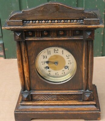 Good Looking Old Wooden Mantel Clock That Needs Key & Minute Hand But Is Working
