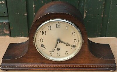 Old German Wooden Napoleon Hat Westminster Chiming On 5 Bars Mantel Clock