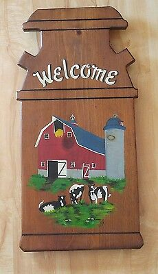 Preowned Welcome Sign,  Hand Painted Wood . Dairy Cows 22.5X11.25 Inches