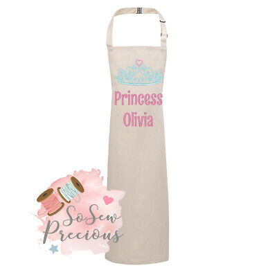 Personalised Embroidered Child's Apron, Any Colour, Princess, Any Name, Unisex