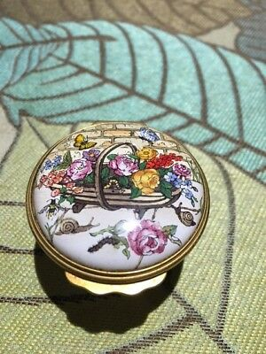 "Halcyon Days Enamel Box-"" We Must Cultivate our Garden"""