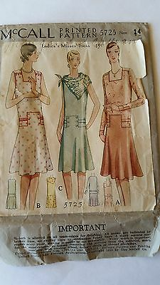 Antique Sewing Pattern-Ladies Dress 1920's- #5725