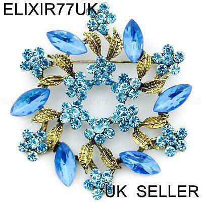 Large Blue Diamante Crystal Vintage Flower Brooch Pins Bouquet Antique Gold Lot