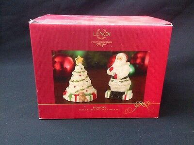 Lenox crystal Holiday Santa and tree salt and pepper set new in box