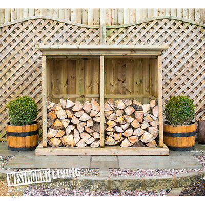 New Wooden Double Triple Logstore Fire Wood Log Store Storage 2 Sizes