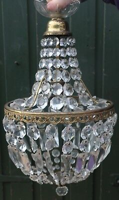 Fab Old Ceiling Light Fitting Chandelier With Real Glass Droppers    (1